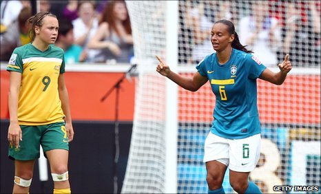 Rosana celebrates her goal
