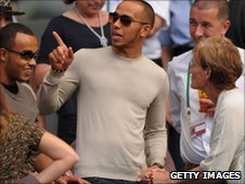 Nicholas Hamilton, Lewis Hamilton and Judy Murray