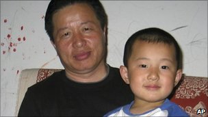 Gao Zhisheng is seen with his son Gao Tianyu, China, March 2010
