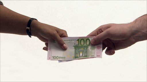 Euro money notes being handed over