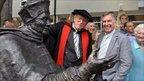 Cardinal Wolsey statue with Dr John Blatchly and David Annand