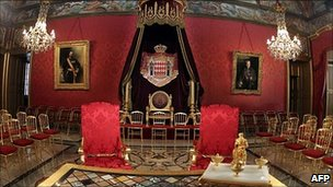 The room in Monaco&#039;s palace where the civil ceremony of the royal wedding of Prince Albert II and Charlene Wittstock was held