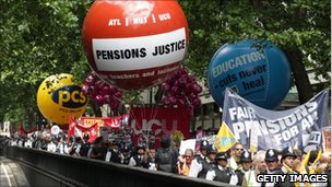 March in London against changes to public sector pensions