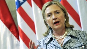 US Secretary of State Hillary Clinton at a press conference in Hungary on 30 June 2011