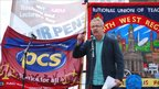 Barry Lovejoy of the UCU address the rally in Manchester