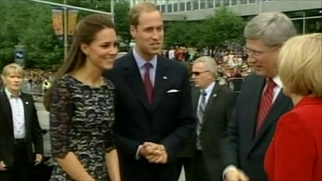 The Duke and Duchess of Cambridge are in Canada on their first overseas tour as a married couple, where their first official duty was to lay a wreath at Canada's National War Memorial.