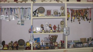 Trophies and medals on display at Parkaso Tomar's home