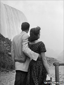 A couple at the falls in 1955