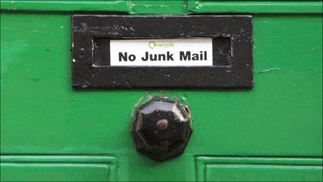 No junk mail sign on door