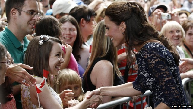 The Duchess of Cambridge greeting the crowds