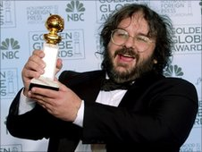 New Zealand director Peter Jackson accepts the award for best director for his work on The Lord of the Rings