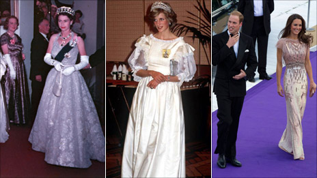 The Queen in mauve at a State Ball in Australia, 1954; Princess Diana in a cream Gina Frattini gown, 1983; and Kate Middleton in a Jenny Packham dress in London