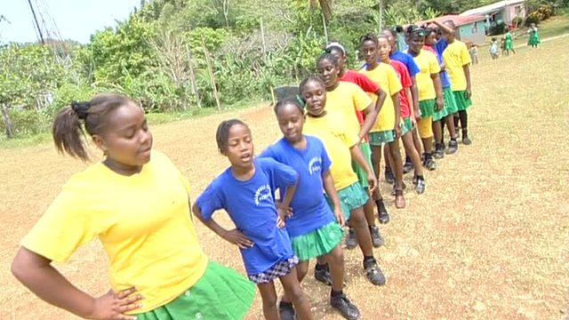 Children from Waldensia Primary school in Jamaica perform a song and a poem composed for their Olympic Dreams partnership.