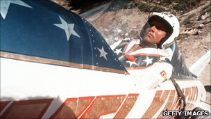 Evel Knievel at the Grand Canyon in1974