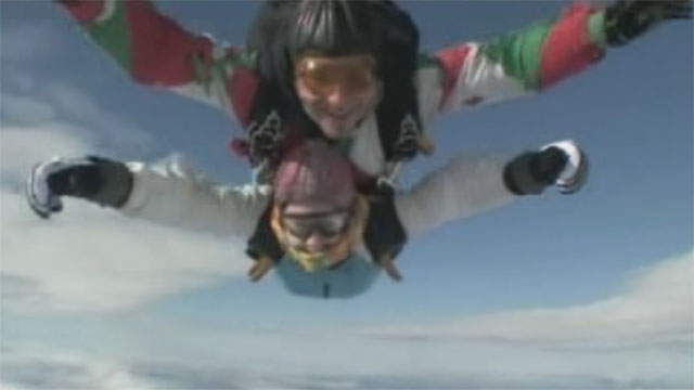 Clare Jones skydiving