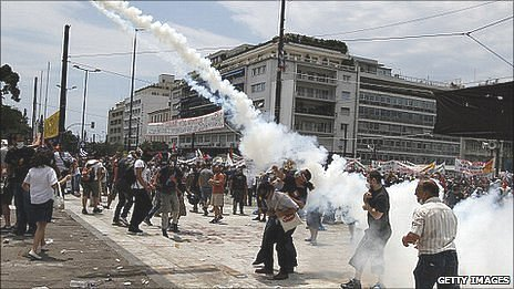 Protesters amid tear gas