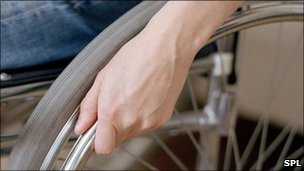 Wheelchair user&#039;s hand