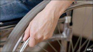 Wheelchair user's hand