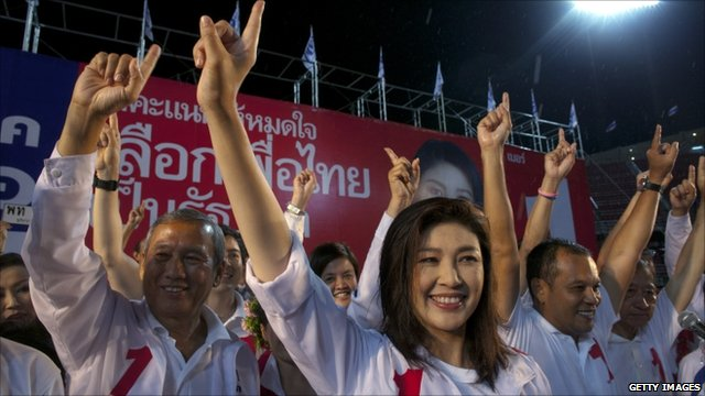 Yingluck Shinawatra and Pheu Thai party members