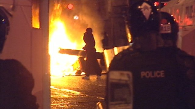 Fire during a riot in Belfast