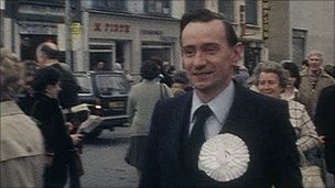 Sir Oliver campaigning in east Belfast in 1979
