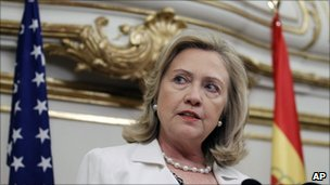 Hillary Clinton during a press conference in Paris