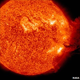 Coronal mass ejection on Sun's surface