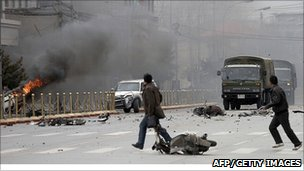 Rioting in the Tibetan capital Lhasa after violent protests broke out on 14 March, 2008