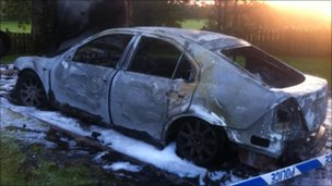 Mr McCrea's car was burnt outside his home
