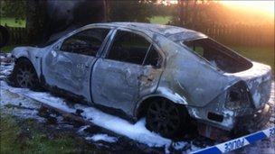 Mr McCrea's car was burnt outside his home