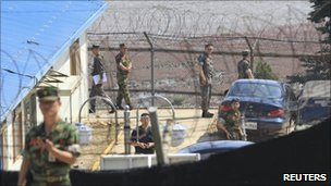 Soldiers are seen at a base of a guard post where a shooting incident took place in Ganghwa island, west of Seoul, South Korea on Monday