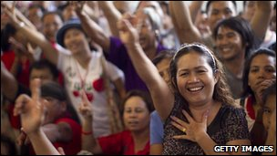 Supporters of Yingluck Shinawatra celebrate her victory