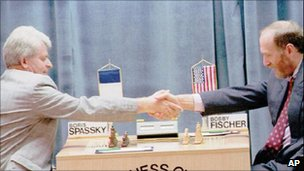 Boris Spassky and Bobby Fischer in the 1992 rematch