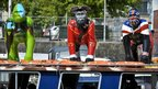 Three life-size gorilla sculptures placed on top of a passenger ferry sailing around Bristol harbourside to launch Bristol Zoo's 175th birthday celebration (Photo: Ben Birchall/PA Wire)