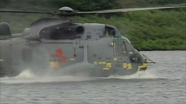 Prince William lands Sea King on water