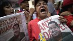 Supporters of Hugo Chavez stage a rally in Caracas