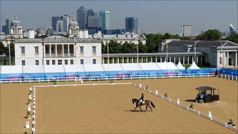 Dressage competition as part of Olympic equestrian test event in Greenwich Park