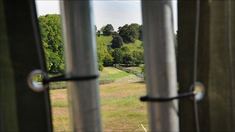 View through fences to the cross country course