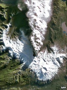 Handout picture released by European technology firm Astrium and captured by Spot 4 satellite shows smoke coming from a crater in the early stages of the eruption in June by the Puyehue-Cordon Caulle volcanic range