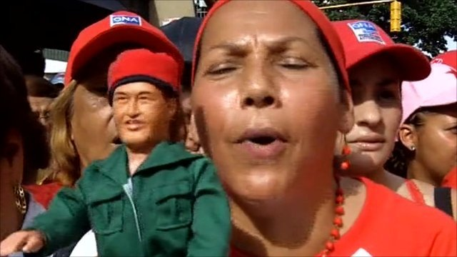 "Woman with ""Chavez"" doll in Caracas"