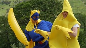 Trust staff in banana costumes