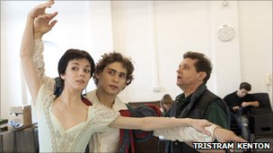Natalia Osipova and Ivan Vasiliev rehearse with Peter Schaufuss (right) Photo: Tristram Kenton