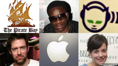 Pirate Bay logo, Tinchy Stryder, Napster Logo, Ed O&#039;Brien, Apple, Lily Allen