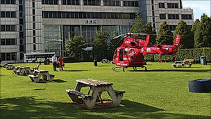 A helicopter on the lawn outside White City