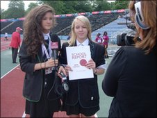 Ella Rose and Kya did some track side reporting at Crystal Palace stadium.
