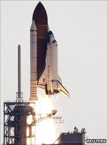 The space shuttle Endeavour lifts off from the Kennedy Space Center in Cape Canaveral, Florida