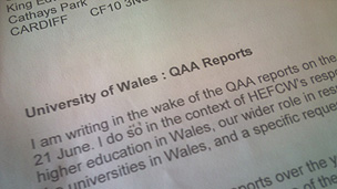 Part of the leaked letter from Prof Philip Gummett, chief executive of the Higher Education Funding Council for Wales
