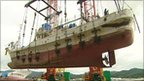 Boat being salvaged in Japan