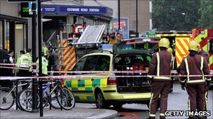 First responders outside Edgware Road tube station on 7/7