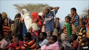 Refugees at the Dadaab refugee camp in Somalia (5 July 2011)